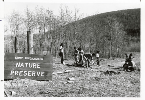 Students in Binghamton University's Nature preserve, 1972