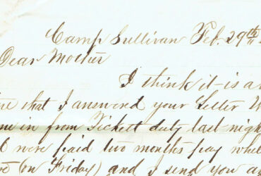 Detail of letter from Clark Lockwood to his mother, dated February 29, 1864 (it was a leap year).