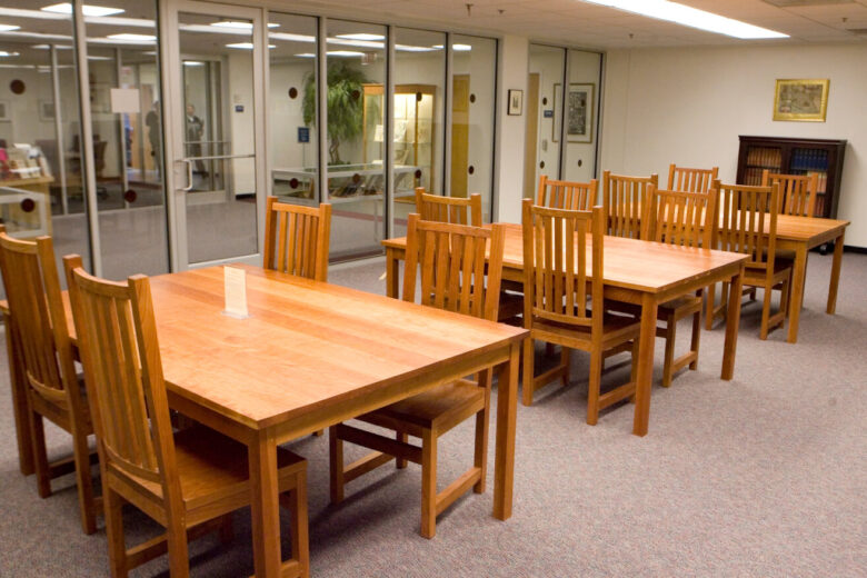 Empty chairs and table in the Huppe Reading Room