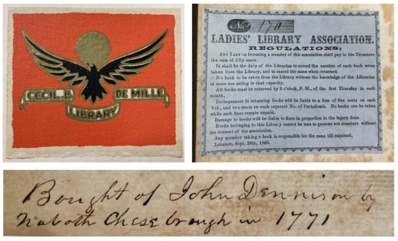 Image collage showing bookplates and inscription