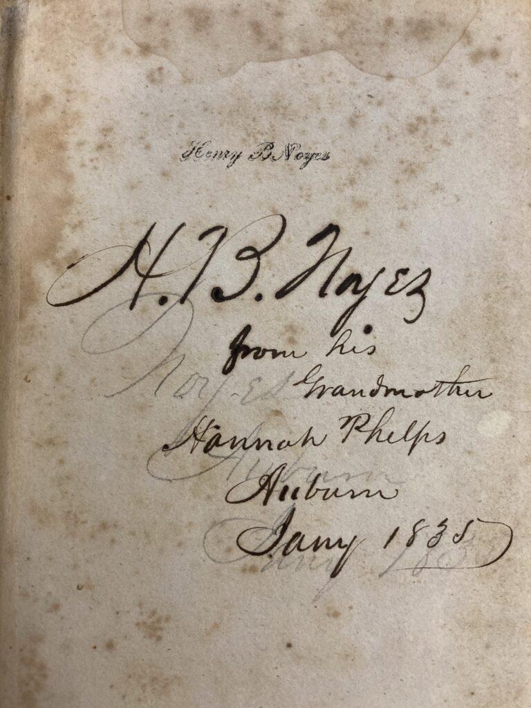 H.B. Noyes ownership inscription on front flyleaf