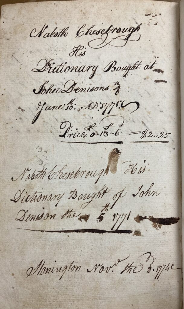 Two Naboth Chesebrough ownership inscriptions on rear flyleaf