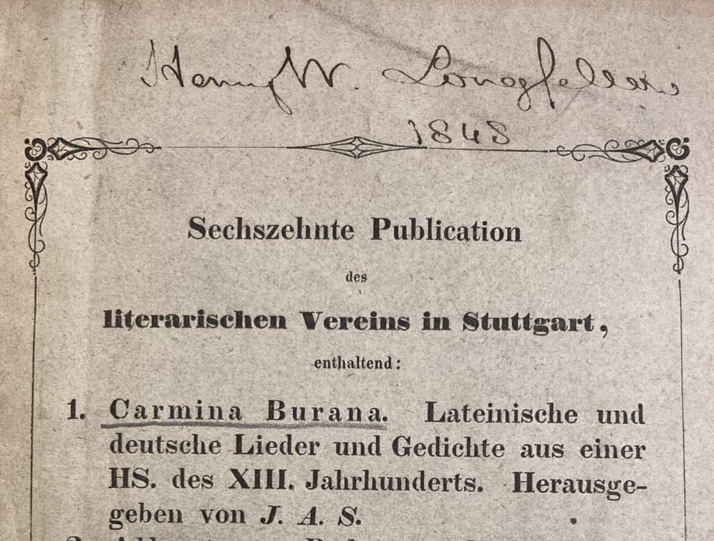 Longfellow inscription dated in 1848 in volume 16