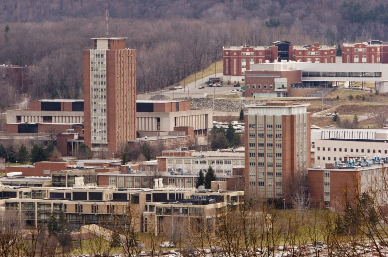 A wide landscape photo of Binghamton University with Bartle Library