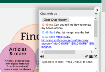 Screenshot of the new chat box in our Find It! tool