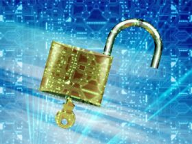 An open lock with a background reminiscent of digital code background