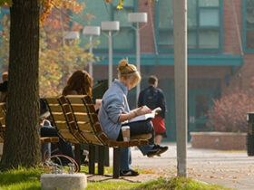 A student sits outside on a bench, studying