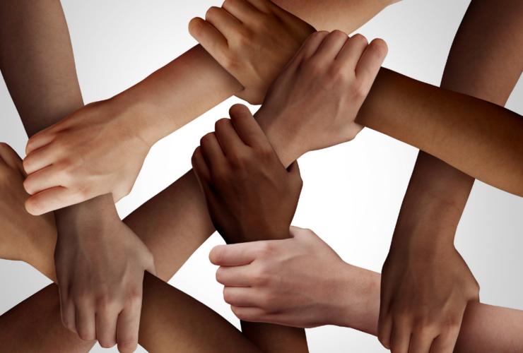 Interwoven hands