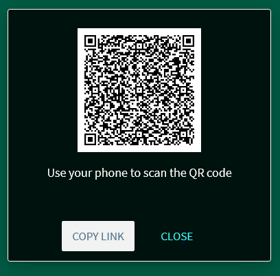 Image of QR Code with text saying Use your phone to scan the QR code; and copy link or close
