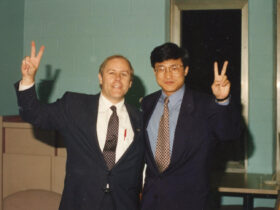Photo of Stephen McKiernan with Li Lu, a student leader of the 1989 Tiananmen Square student protests.