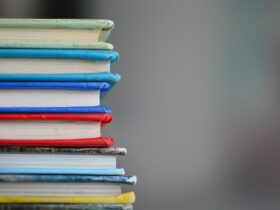 Stack of books with different color covers